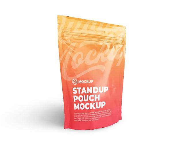 Realistico standup con cerniera lampo borsa mockup vista frontale inclinabile