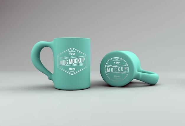 Realistico teal color mug mockup 3d reso isolato