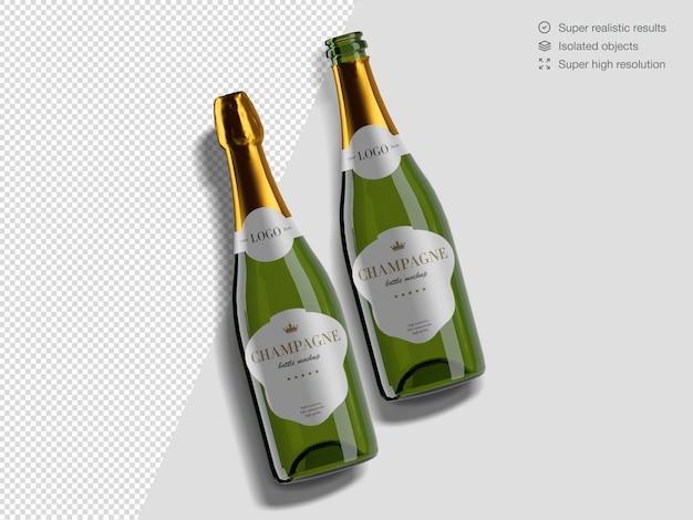Modello di mockup di bottiglie di champagne aperto e chiuso vista dall'alto realistico
