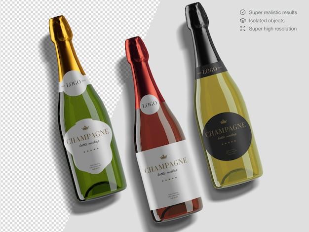 Varietà realistica di vista superiore di modello di mockup di bottiglie di champagne