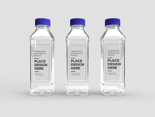 Mockup di bottiglia di plastica trasparente realistico