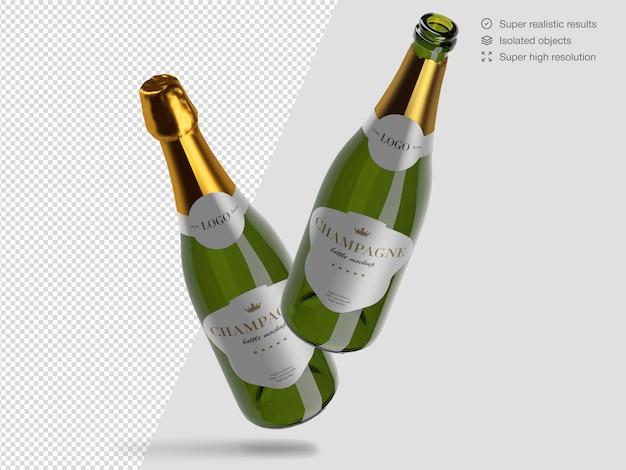 Modello realistico di mockup di due bottiglie di champagne galleggiante