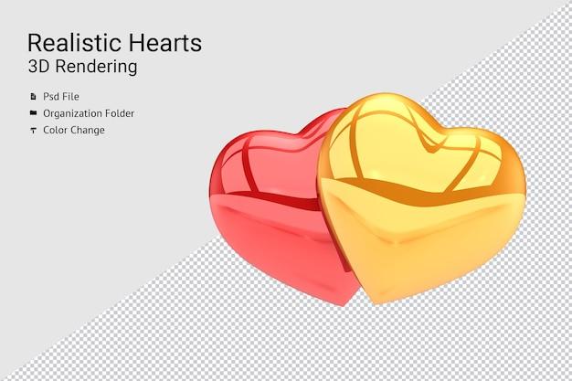 Rendering 3d realistico di due palloncini cuore