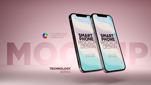 Mockup realistico dello schermo di due smartphone