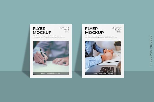 Design realistico di mockup di volantini con lettere americane