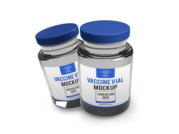 Modello di mockup di fiala di vaccino realistico isolato
