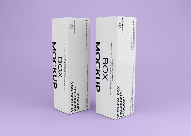 Mockup di scatola verticale realistico per l'imballaggio