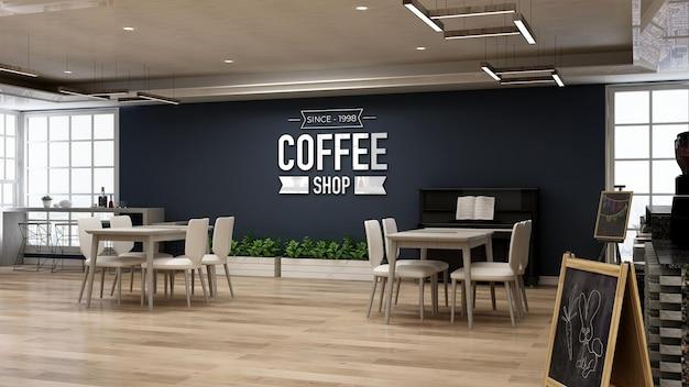 Mockup realistico del logo della parete nella caffetteria o nel ristorante con parete blu scuro