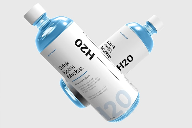 Realistico bottiglia d'acqua mockup design isolato