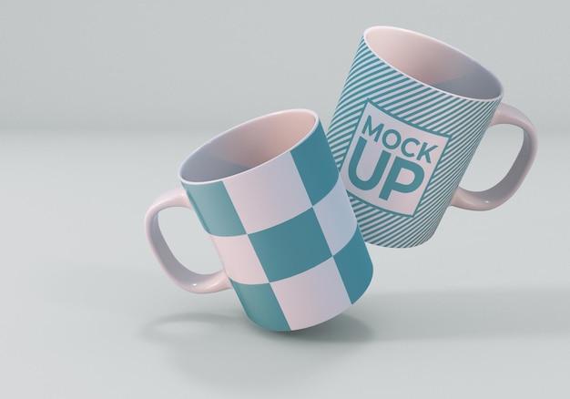 Design realistico del mockup della tazza da caffè bianco Psd Premium
