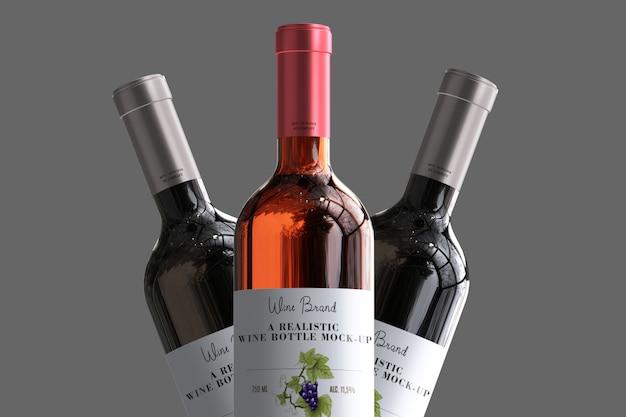 Mock-up di etichetta di bottiglia di vino realistico