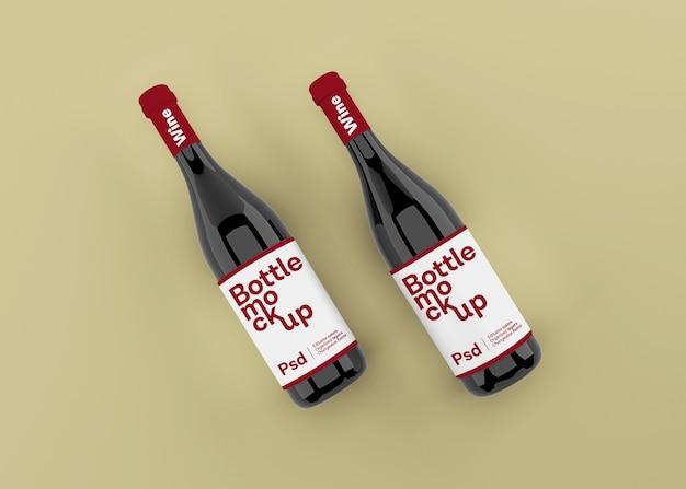 Bottiglia di vino realistica con mockup di etichetta