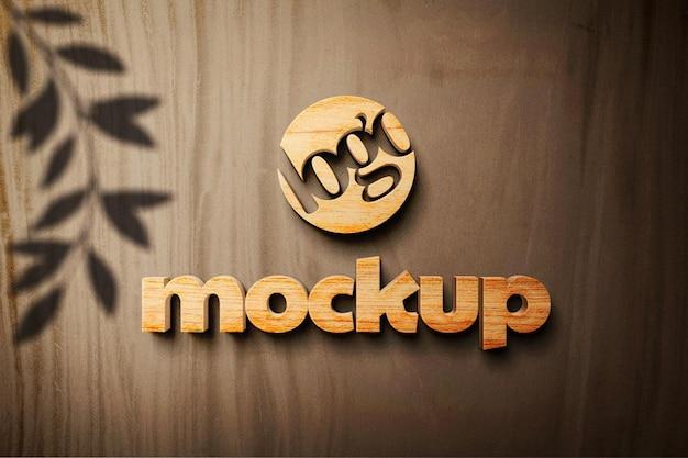 Mockup di logo 3d in legno realistico