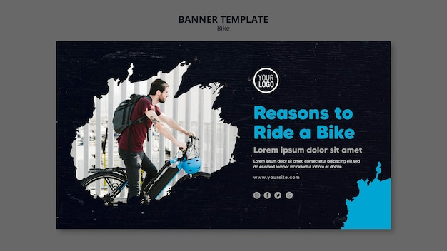 Motivi per guidare un banner modello di annuncio in bicicletta