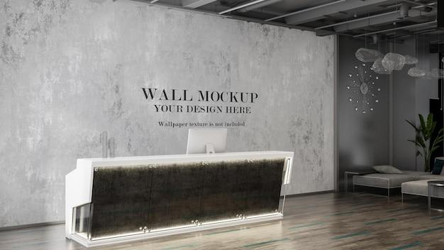 Mockup della parete posteriore della reception in interni di lusso moderni