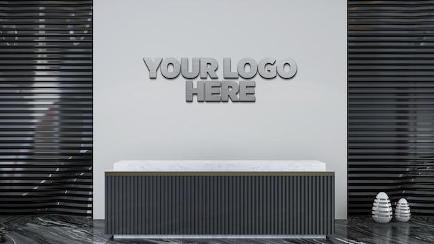 Logo 3d della sala di ricevimento e mockup della parete