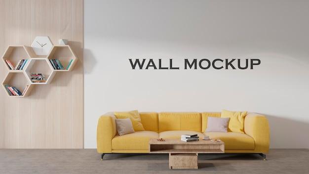 Lo spazio della reception ha un semplice mockup a parete