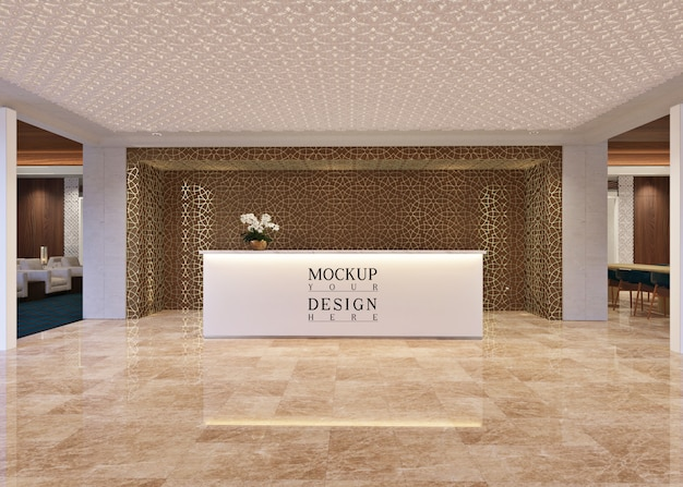 Mockup tavolo receptionist in interni moderni lounge
