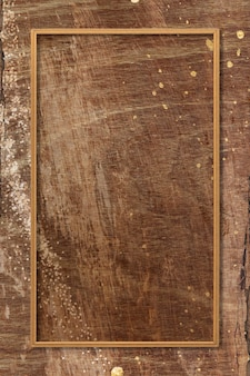 Cornice rettangolare su sfondo texture in legno marrone