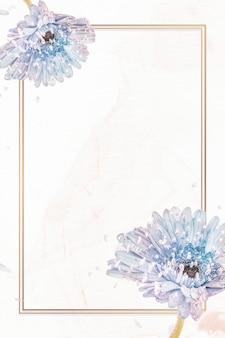 Mockup di cornice di fiori di gerbera viola naturale rettangolare