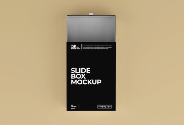 Mockup di imballaggio per scatola di diapositive di carta rettangolare