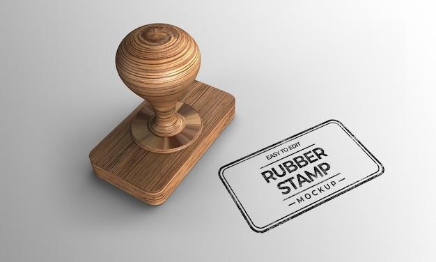 Mockup di francobolli in legno a forma di rettangolo