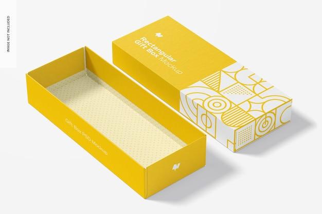 Mockup di scatola regalo rettangolare, aperto