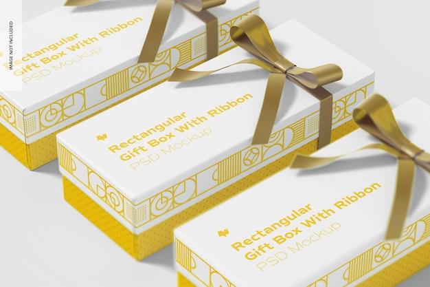 Scatole regalo rettangolari con mockup di nastro, vista dall'alto