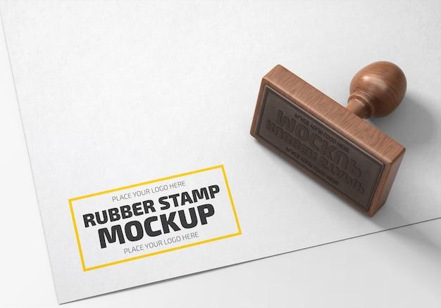 Mockup logo timbro di gomma rettangolare