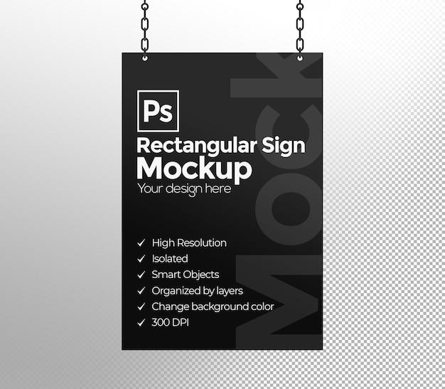 Mockup di cartello rettangolare con catene per pubblicità o branding