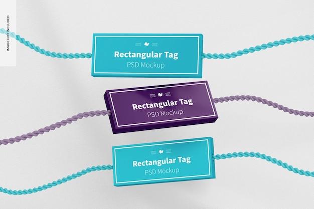 Set di etichette tessili rettangolari mockup