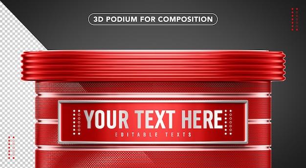 Podio rosso 3d per composizione