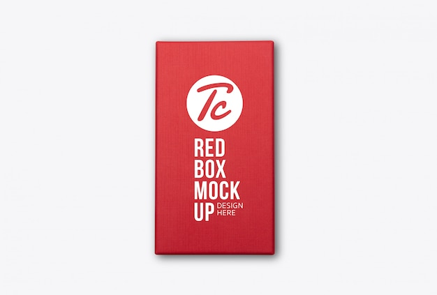 Modello di mockup vista dall'alto confezione di prodotto scatola rossa per il vostro disegno