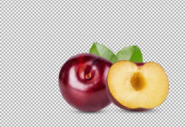 Prugna rossa ciliegia con foglia