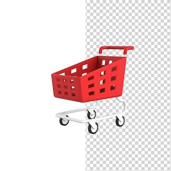 Carrello della spesa vuoto rosso su ruote modello di rendering 3d