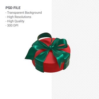 Contenitore di regalo rosso 3d con nastro verde isolato