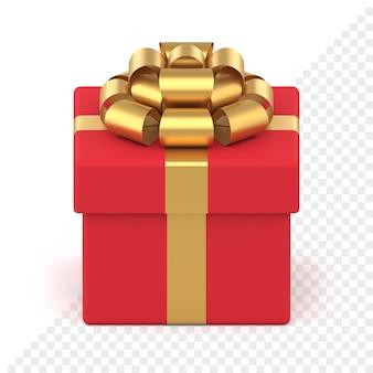 Confezione regalo rossa con fiocco dorato per decorazioni natalizie. oggetto regalo festivo con nastro e nodo lussuoso. piacevole sorpresa regalo per capodanno ed eventi speciali. arredamento per le vacanze invernali.