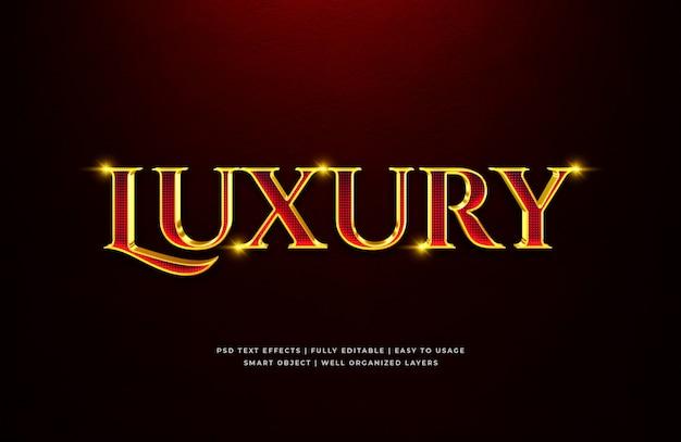 Effetto di lusso di stile del testo 3d dell'oro rosso