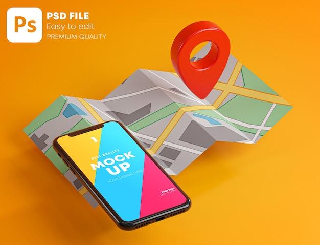 Pin gps rosso su smartphone e mockup di mappa nel rendering 3d