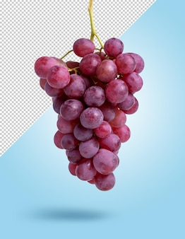 Mockup di grappolo d'uva rossa appeso su sfondo modificabile