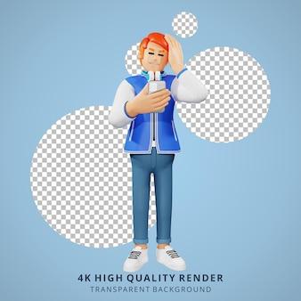 Illustrazione del carattere 3d vertiginosa dei giovani dei capelli rossi