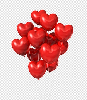 Palloncini a forma di cuore rosso galleggianti nel cielo