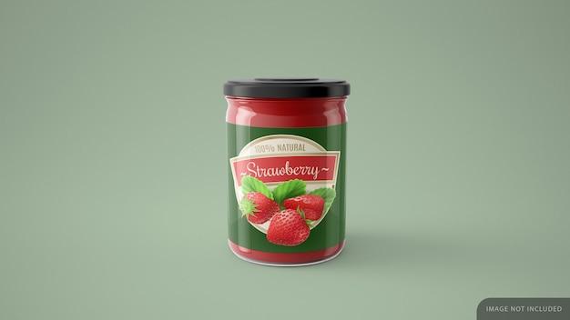 Mockup di barattolo di gelatina rossa