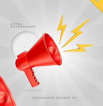Megafono rosso con rendering 3d raggi isolato