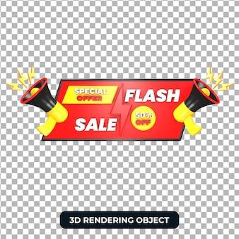 Megafono rosso con offerta speciale di vendita flash 3d render isolato