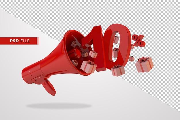 Megafono rosso con il numero 10 per cento