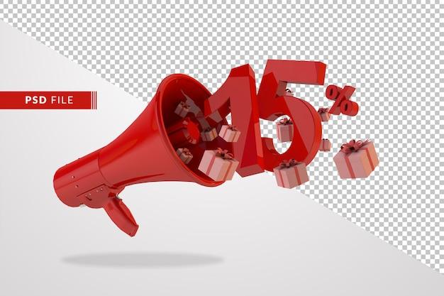 Megafono rosso con numero 15 per cento