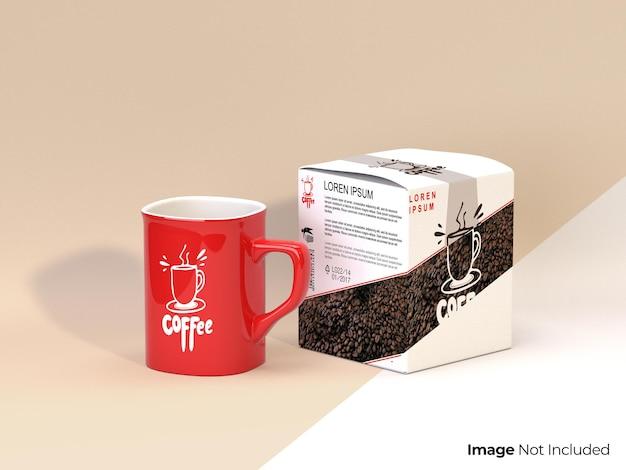 Mockup di tazza rossa con scatola di imballaggio tazza di tè o caffè completamente modificabile