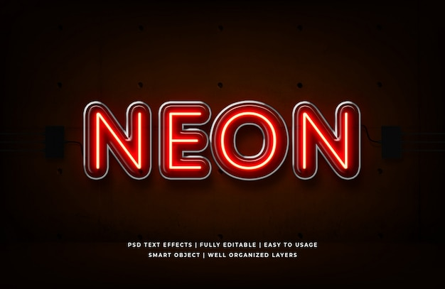 Neon rosso effetto testo in stile 3d premium psd