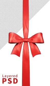 Fiocco di nastro regalo in raso rosso isolato